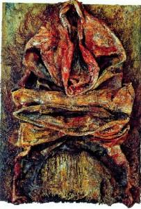 Ba Hai, 1992 oil and jute on wood