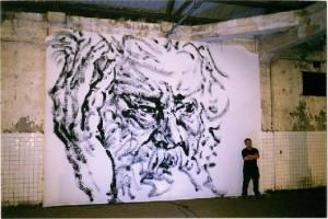 BaiHai 2002, huge ink on canvas (Victor Hugo's portrait), 500X800cm, Taipei